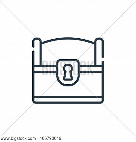 chest icon isolated on white background from videogame collection. chest icon thin line outline line