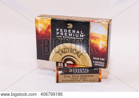 Pittsburgh, Pennsylvania, Usa 2-5-21 Two Boxes Of Federal Premium Law Enforcement Ammunition, One Ri