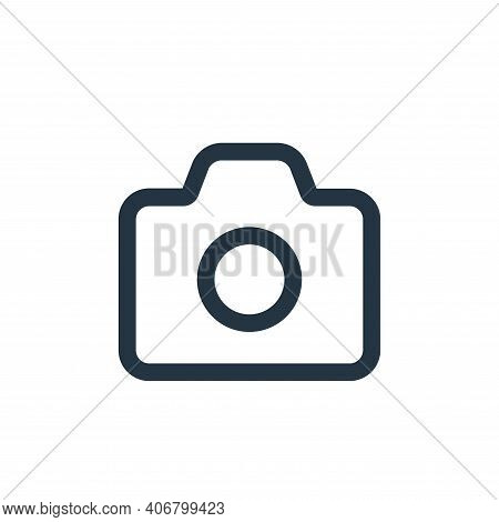 camera icon isolated on white background from interface collection. camera icon thin line outline li