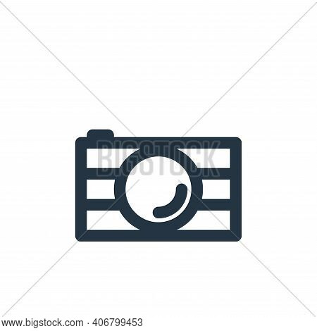 camera icon isolated on white background from holiday collection. camera icon thin line outline line