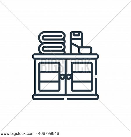 cabinet icon isolated on white background from bathroom collection. cabinet icon thin line outline l