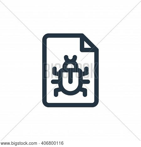 bug icon isolated on white background from document and files collection. bug icon thin line outline