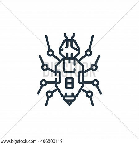 bug icon isolated on white background from robotics collection. bug icon thin line outline linear bu