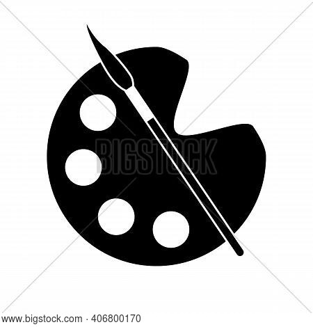 Paintbrush And Palette Icon On White Background. Vector Illustration.