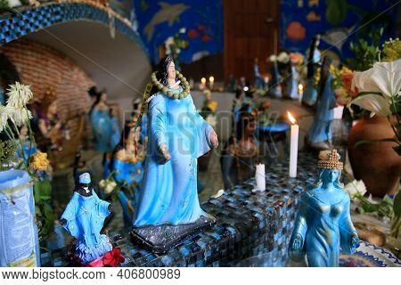 Salvador, Bahia, Brazil - February 5, 2021: Image Of The Orisha Yemanja At The Sanctuary In The Fish