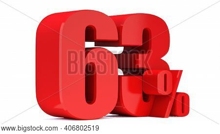 63 Percent Off 3d Sign On White Background, Special Offer 63% Discount Tag, Sale Up To 63 Percent Of
