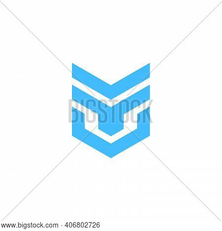 Abstract Letter Tv Simple Geometric Badge Logo Vector