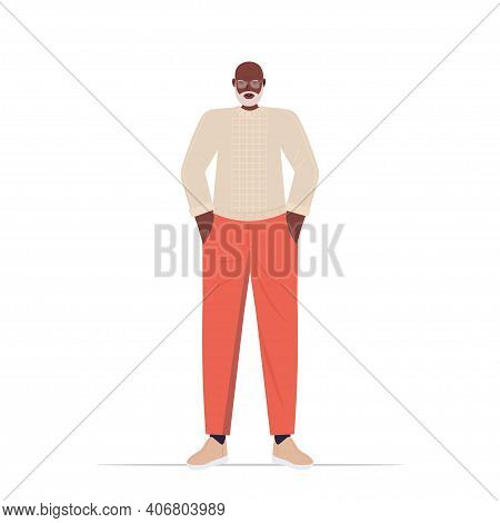 Old African American Man In Casual Trendy Clothes Senior Male Cartoon Character Standing Pose Gray H