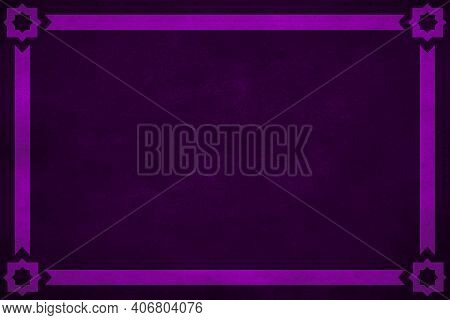 Dark Purple Grunge Texture Background Vignette With Purple Ribbon Border Trim On All Four Sides And