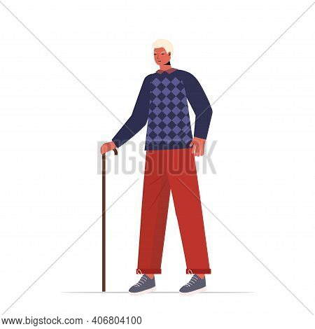 Old Man In Casual Trendy Clothes With Cane Senior Male Cartoon Character Standing Pose Gray Haired G