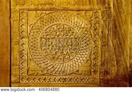 Close-up Of Intricate Design On Interior Stone Wall At Gwalior Fort In Gwalior, Madhya Pradesh, Indi