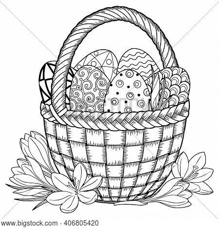 Happy Easter. Black And White Doodle Easter Eggs In The Basket. Coloring Book For Adults For Relax A