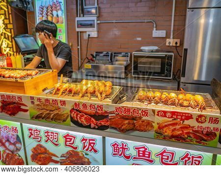 Guangzhou/china-26 Aug 2019:street Food Stall On Shangxiajiu Walking Street At Guangzhou.shangxiajiu