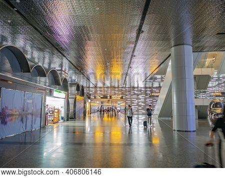 Guangzhou/china-26 Aug 2019:light Performance In Baiyun Internation Airport Guangzhou City China.gua