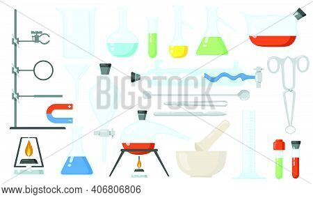Glass Beakers Set. Lab Tubes And Bottles, Tools For Chemical Experiment. Flat Vector Illustration Fo
