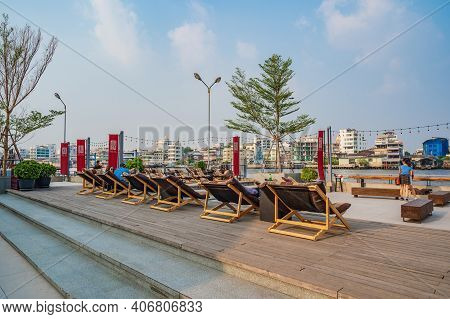 Bangkok/thailand-19 Jan 2020:unacquainted People Relaxing On The Chair In Lhong 1919.lhong 1919 Is A