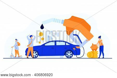 High Price For Car Fuel Concept. People Wasting Money For Gasoline, Changing Car For Scooter, Saving