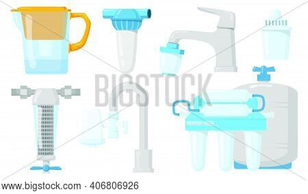Home Water Filters Flat Set For Web Design. Cartoon Jugs And Taps With Filtration System Isolated Ve