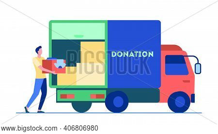 Man Carrying Box With Clothes To Donation Truck. Courier, Volunteer, Vehicle Flat Vector Illustratio
