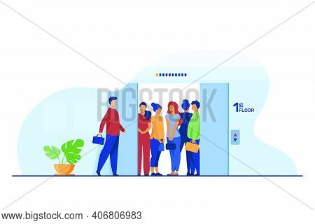 Man Coming Into Overcrowded Elevator Cabin. Building Hall, Open Doors Flat Vector Illustration. Crow