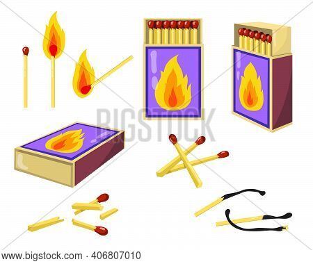 Matches And Matchboxes Flat Illustration Set. Cartoon Burnt Matchsticks With Fire And Opened Boxes F