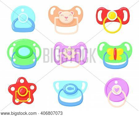 Pacifiers For Babies Set. Colorful Plastic Soothers For Little Children With Butterfly, Bear, Flower