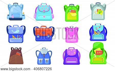 School Backpacks Set. Colorful Bags For Primary School Students, Open Rucksacks For Kids With School