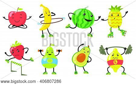 Sporty Fruits Set. Cartoon Pear, Apple, Avocado, Strawberry Doing Yoga, Running And Lifting Weight I