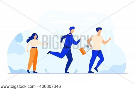 Thief Holding Stolen Bag And Running From Male Cop. Policeman Catching Criminal For Arrest. Vector I