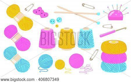 Threads For Sewing Flat Illustration Set. Cartoon Cotton Or Wool Yarn Bobbin For Knitting On White B