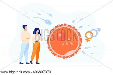 Tiny People Planning Baby Flat Vector Illustration. Cartoon Embryo Development And Human Healthy Rep