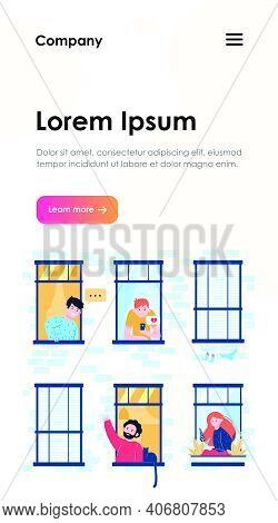 Friendly Neighbors Looking At Windows. Friendship, Neighbor, Building Flat Vector Illustration. Life
