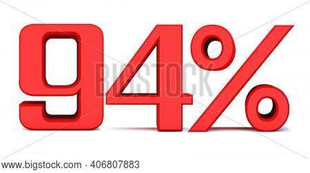 94 Percent Off 3d Sign On White Background, Special Offer 94% Discount Tag, Sale Up To 94 Percent Of