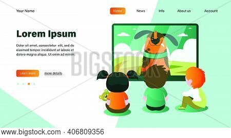 Children Watching Tv Flat Vector Illustration. Kids Sitting Near Television Screen And Watching Cart