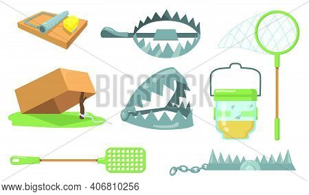 Animal Traps Set. Mouse Trap, Metal Bear Trap, Butterfly Net Isolated On White Background. Cartoon V