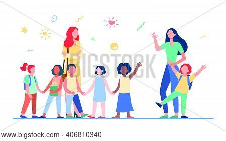 Classmates Meeting At School. Mom Leading Son, Group Of School Children With Teacher Flat Vector Ill