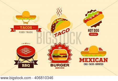 Colorful Fast Food Flat Sign Set. Fastfood Cafe Banner With Taco, Hot Dog, Burger, Burritos And Bbq