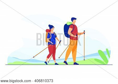 Couple With Backpacks Walking Outdoors. Tourists With Nordic Poles Hiking In Mountains Flat Vector I