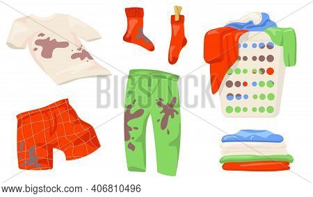 Dirty Clothes Set. T-shirts And Socks With Mud Spots, Pile Of Clothes In Laundry Basket, Clean Linen