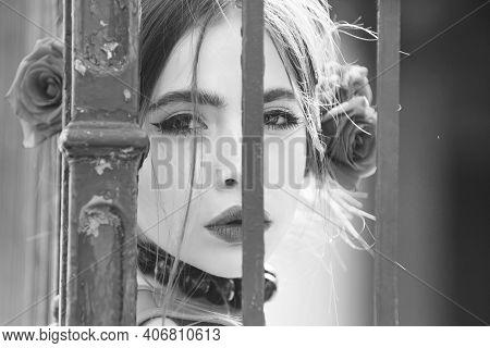 Closeup Woman Portrait. Beautiful Spanish Girl On Brick Wall Background, Beauty And Fashion, Love Te