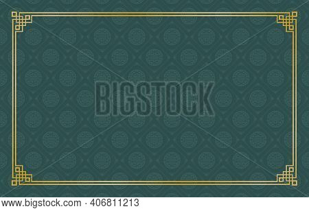 Rectangle Gold Frame Ornament With Dark Green Background Pattern Chinese Ornament For Greeting Cards