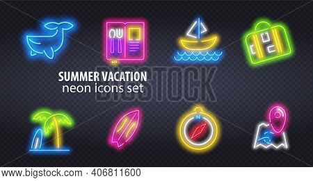 Neon Summer Icons And Font Set Isolated On Brick Wall Background. For Logo, Poster, Banner. Vector I