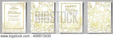 Vector Illustration. Wedding Invitation Frame Set Flowers, Peonies, Isolated On White. Wedding Ornam