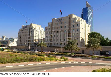 Dubai - Uae - December 18, 2020: American University Building In Dubai. Worldwide Famous Uni Exterio