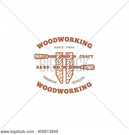 Logo Design Template With A Hand Screw Clamp For Wood Shop, Carpentry, Woodworkers, Wood Working Ind