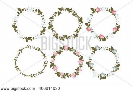 Vector Set Of Beautiful Floral Wreaths. Festive Wreaths, Round Frames With Leaves, Magnolias And Cot