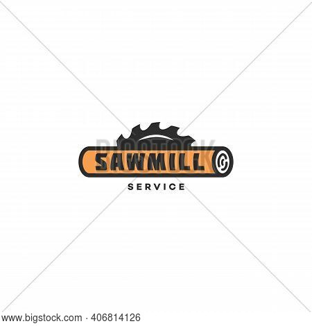 Logo Design Template With A Log And A Saw Blade For Sawmill, Lumberjack Service, Wood Shop, Carpentr