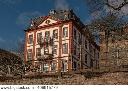 Historic Building On The Banks Of The River Main In Frankfurt-hoechst, Germany
