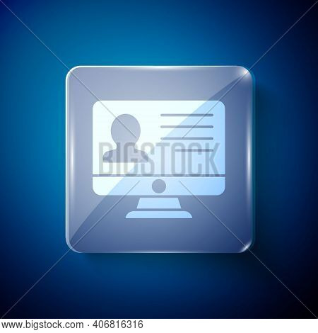 White Computer Monitor With Resume Icon Isolated On Blue Background. Cv Application. Searching Profe