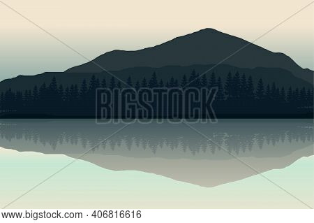 Mountain Landscape Vector Illustration With Lake Reflecting The Scenery. Mountains Ridge Scenery Bac